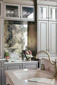 diamond pattern antiqued mirrored backsplash tiles With kitchen colors with white cabinets with mirror framed wall art