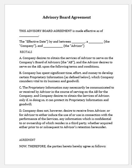 agreement templates   businesses word