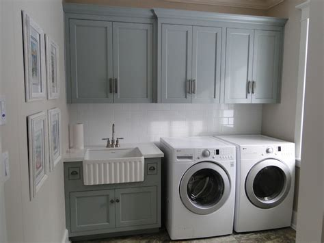 gray green cabinets transitional laundry room