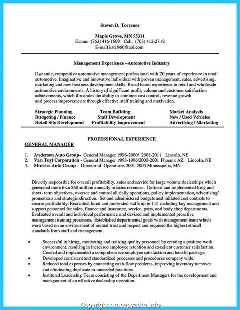 A Sle Of Cv by Executive Wholesale General Manager Resume Car Salesman