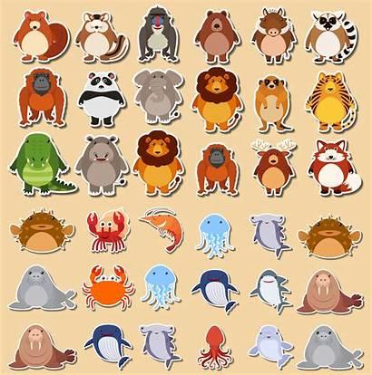 Animal Sticker Vector Animals Cartoon Funny Graphics