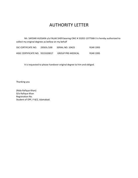 authorization letter format collect documents bank