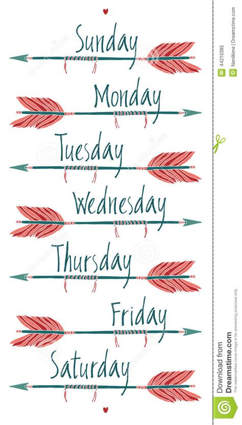 Days Of The Week And Arrows Stock Vector  Illustration 44210385