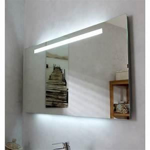 miroir lumineux eclairage integre l120 x h60 cm atria With carrelage adhesif salle de bain avec eclairage terrasse led