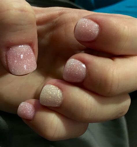pink glitter white glitter powder dipped nails manicure
