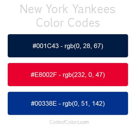 new york yankees team color codes mlb team colors
