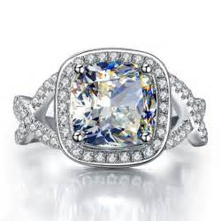 synthetic engagement rings 3 carat lasting shine synthetic ring wedding ring engagement ring cushion cut 925 silver