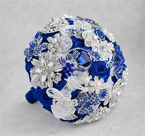 Brooch Bouquet. White, Royal Blue And Silver Brooch ...