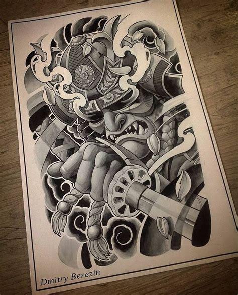 Tattooed Samurai Woman Drawing Artwork T Samurai