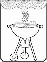 July 4th Coloring Pages Grilling Sheet Fourth Cupcake Happy sketch template