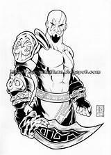 Kratos Mortal Combat Lzk Coloring Sword Credit Larger sketch template