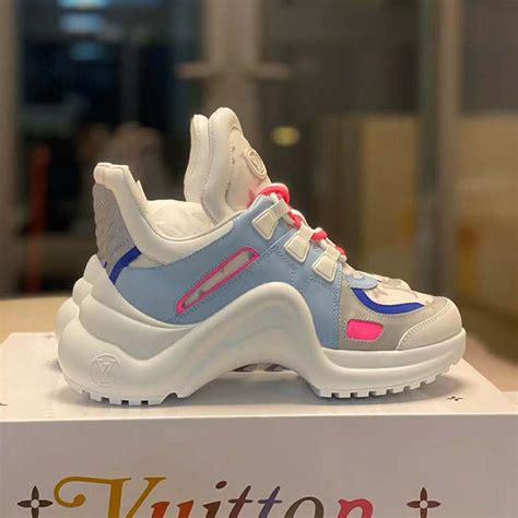 louis vuitton lv women lv archlight sneaker  leather  technical fabrics blue lulux