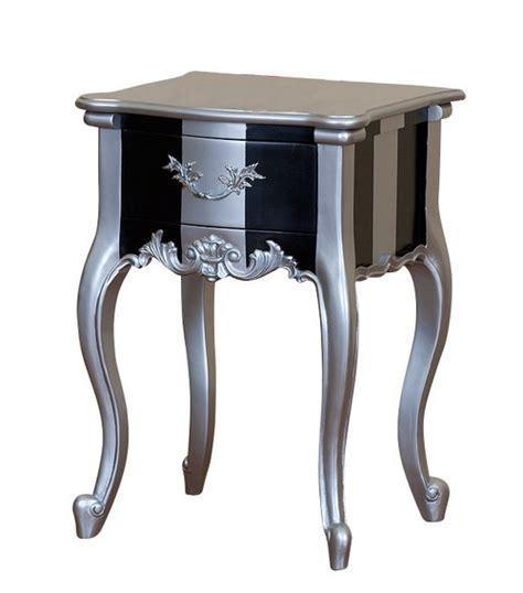 table de chevet argente mobilier baroque chevet