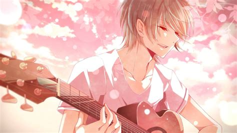 Anime Guitar Wallpaper - anime boys guitar hair closed musical
