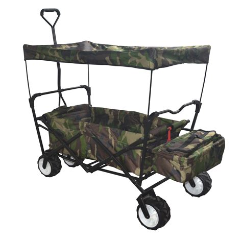 folding wagon with canopy camo outdoor folding wagon canopy garden utility travel