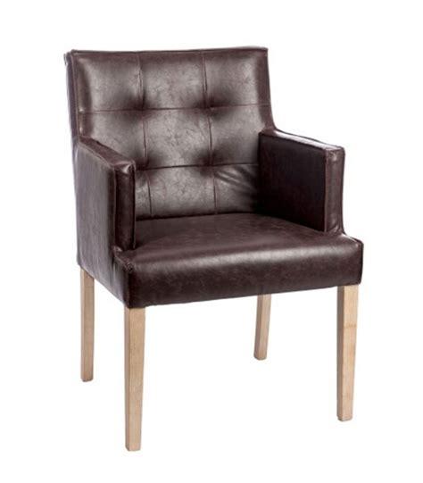 chaise avec accoudoirs chaise avec accoudoirs en similicuir marron boutons et