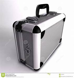 A 3D Render Of A Silver Toned Metal Briefcase Stock ...