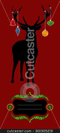 christmas reindeer silhouette greeting card stock photo