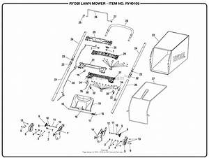 Homelite Ry40108 40 Volt Lawn Mower Mfg  No  107993003 Parts Diagram For General Assembly