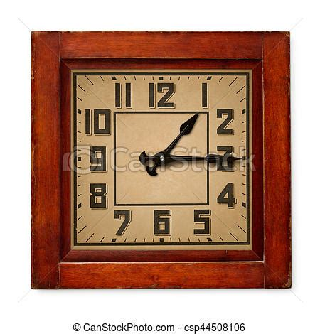square wooden wall clock isolated objects  square