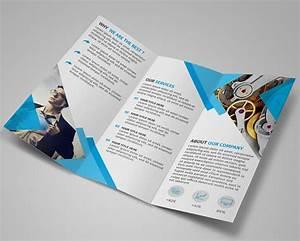 Free Modern Blue Tri-fold Brochure Template PSD - TitanUI