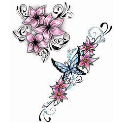 5c573ba78 Small Pink Flowers N Butterfly Tattoo Design Tattoos Book 65000 Tattoos  Designs