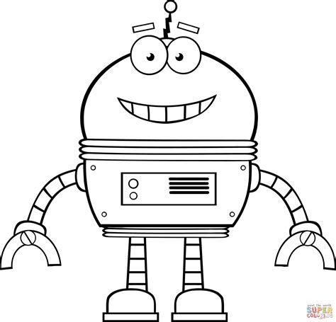 smiling robot coloring page  printable coloring pages