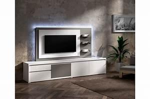 Meuble Tele Avec Rangement : meuble tv design blanc avec panneau tv gris brun cbc meubles ~ Teatrodelosmanantiales.com Idées de Décoration