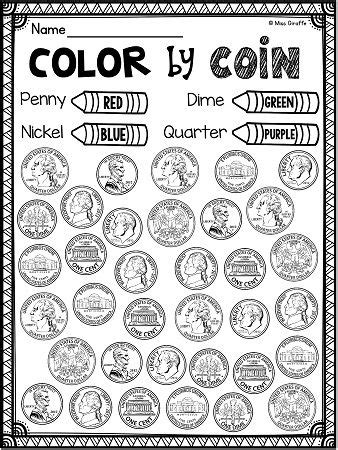 Identifying Coins Coloring Pages  Coloring Page