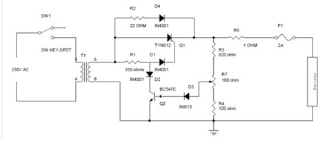 World Rules Battery Charger Circuit Using Scr