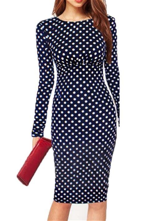 Blue Pretty Womens Vintage Polka Dot Midi Dress   PINK QUEEN