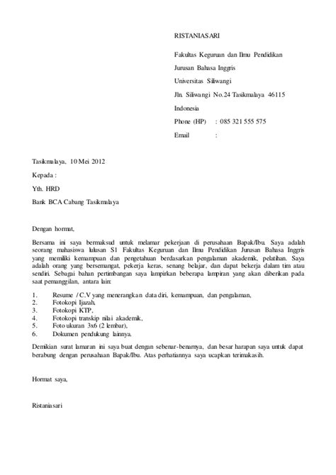 Surat Lamaran Kerja 2017 by Contoh Surat Lamaran Kerja Bank Bca Terbaru 2017 Ben