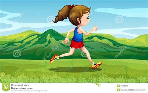 A Girl Jogging Near The Hills Stock Photos