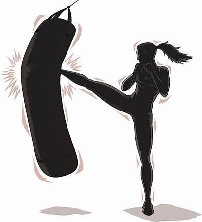Kickboxing Boxing Vector Kick Woman Clip Female