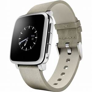 Pebble Time Steel Smartwatch Silver Leather Band Smart ...