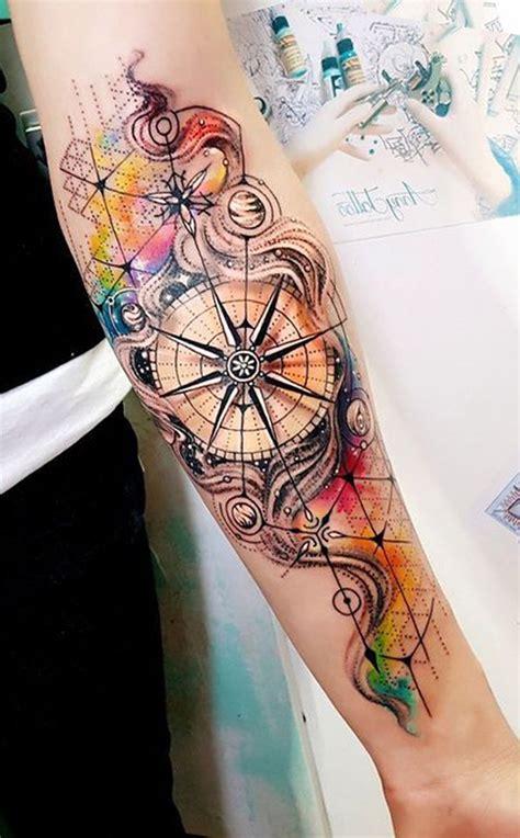 watercolor compass  forearm tattoo ideas  women