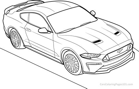 mustang coloring pages ford mustang gt 2018 top view coloring page free