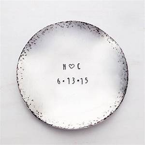 engagement ring dish custom stamped metal jewelry holder With letter ring dish