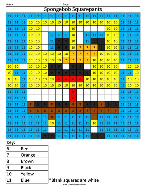 color square spongebob squarepants color by number coloring squared