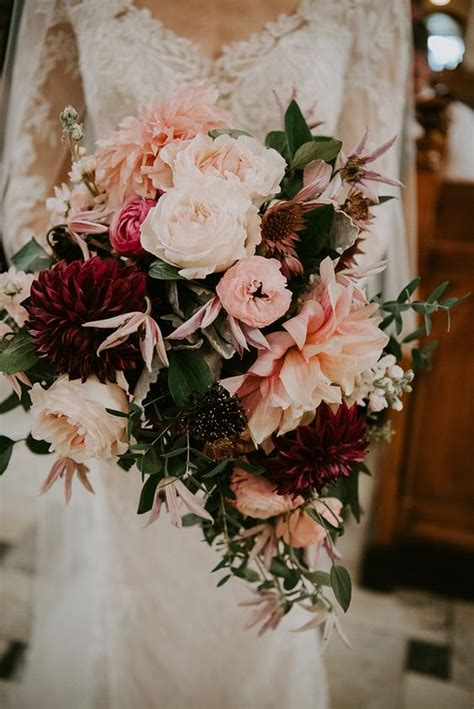 wedding wednesday fall bridal bouquets  merlot plum