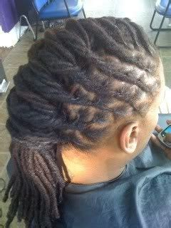 dreadlocks  locs wrapped french roll hairstyle