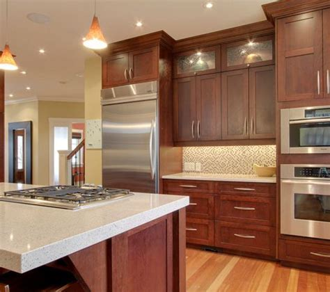 kitchen cabinets not wood cherry wood cabinets with stainless and light countertop 6255