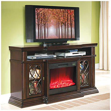 fireplace tv stand big lots view 60 quot media walnut electric fireplace with glass doors