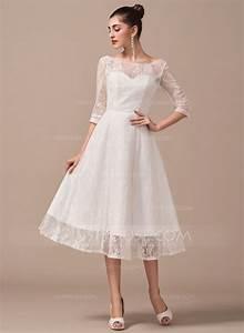 forme princesse col rond longueur mollet dentelle robe de With robe de mariée longueur mollet
