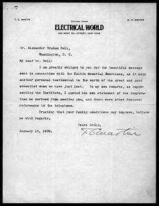 Letter From T C  Martin To Alexander Graham Bell  January