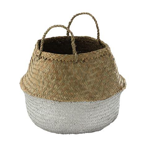 decoration chambre ado basket panier thaïlandais en fibre végétale argentée h 40 cm