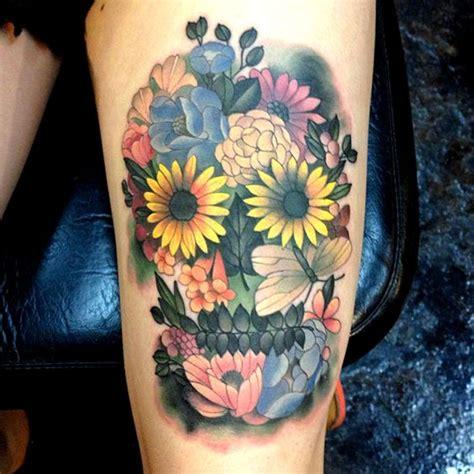 skull   flowers tattoo    sugar skull