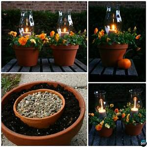 diy flower clay pot tower projects for garden With kitchen cabinets lowes with flower pot candle holder