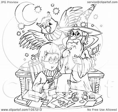 Coloring Wizard Outline Boy Pages Royalty Owl