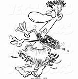 Cartoon Drunk Coloring Hula Dancing Vector Outlined Leishman Ron Dancer Royalty Template sketch template